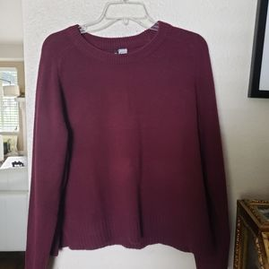 Burgundy sweater divided